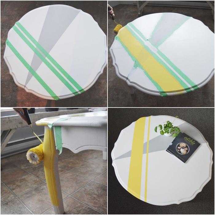 comment repeindre une table en bois avec des motifs graphiques à l'aide de ruban à masquage