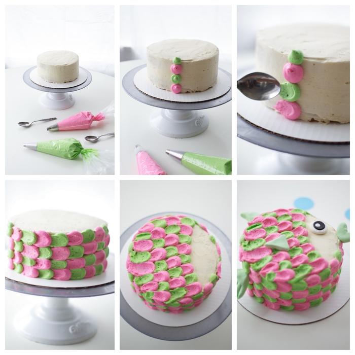 comment faire un gateau d'anniversaire poisson à joli décor écailles réalisé en glaçage au crème beurre rose et vert
