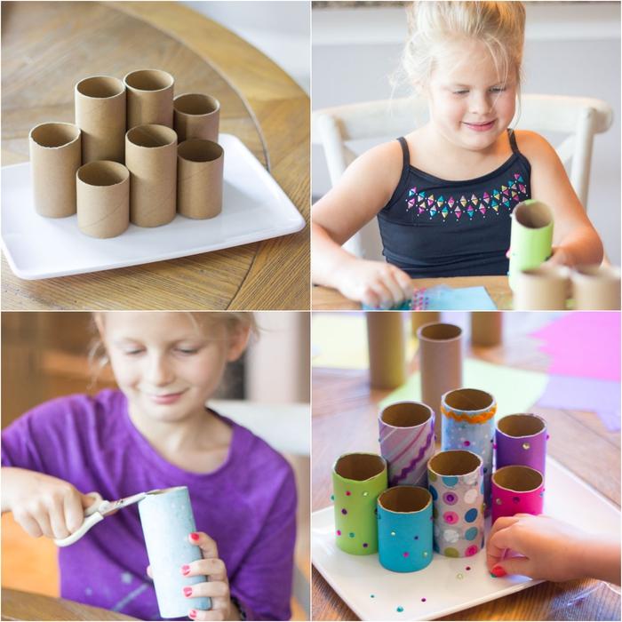 un bricolage en papier recyclé facile pour la rentrée, des pots à crayons à motifs différents fabriqués à partir des tubes en carton