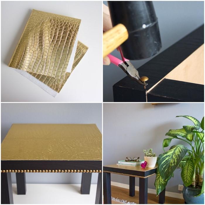 tuto de relooking meuble à l'aide de tissu simili cuir, table ikea basique personnalisée aux accents dorés