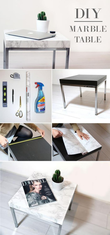 tuto facile pour transformer une table basse ikea basique en meuble tendance à effet marbre, comment relooker un meuble avec du papier adhésif