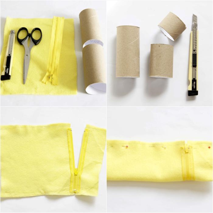 tuto pour réaliser une trousse à crayons cylindrique en carton et feutrine, bricolage rouleau papier toilette pour la rentrée