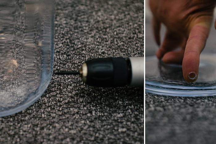 activité manuelle, instruction pour faire un trou sur un bocal, étape à suivre pour faire une lampe