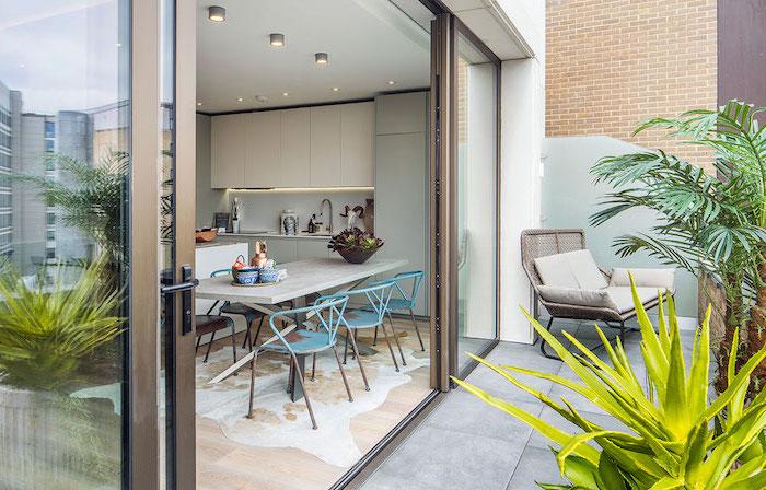 ouverture cuisine sur une terrasse revêtue de béton, avec palmiers, plantes succulentes, chaise en rotin, coussins gris