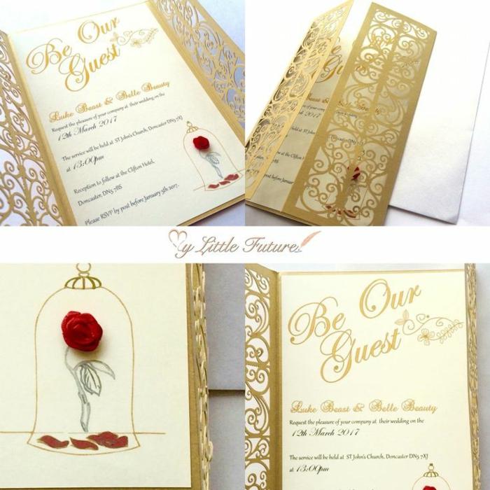 Disney faire part de mariage chic faire part mariage elegant portes dorées et rose rouge comme dans la belle et la bete