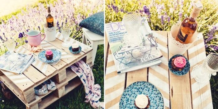 table basse de jardin fabriquée à partir d une palette coupée en deux, table avec rangement intégré, bricolage récupération simple