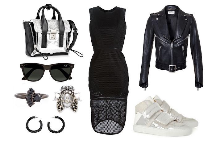 tenue chic, comment assortir ses vêtements en style rock, robe noire longueur genoux et sac à main en noir et argent