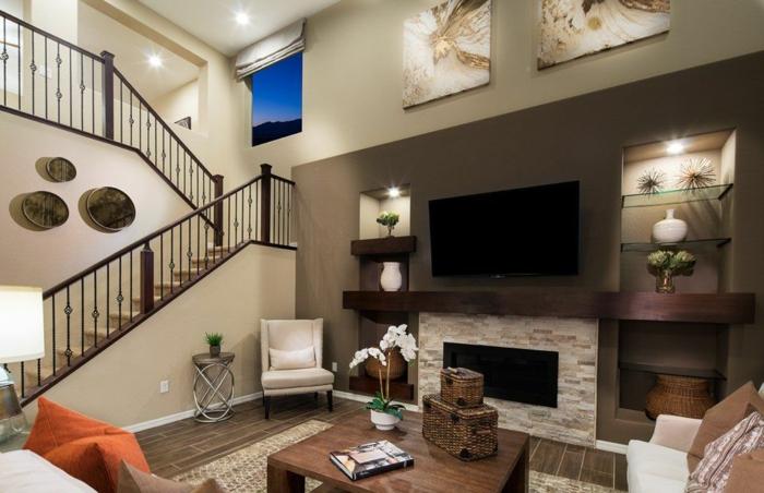 idée decoration salon, escalier moderne tournant, mur en couleur taupe, table basse en bois