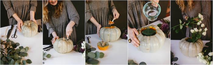 deco halloween a faire soi meme, citrouille vidée avec une mousse florale a l interieur et bouquet de fleurs, bricolage