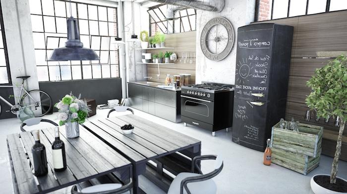 meuble bas cuisine, aménagement style industriel avec tuyaux apparentes, pot à fleurs diy en palettes peints en vert