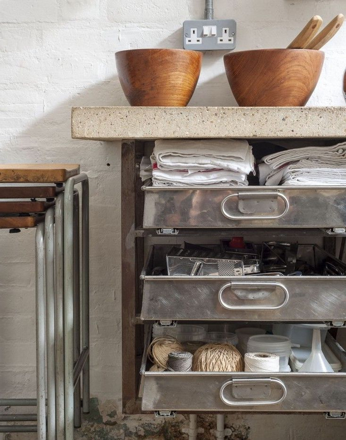 meuble industrielle de rangement pour une cuisine fonctionnelle et authentique