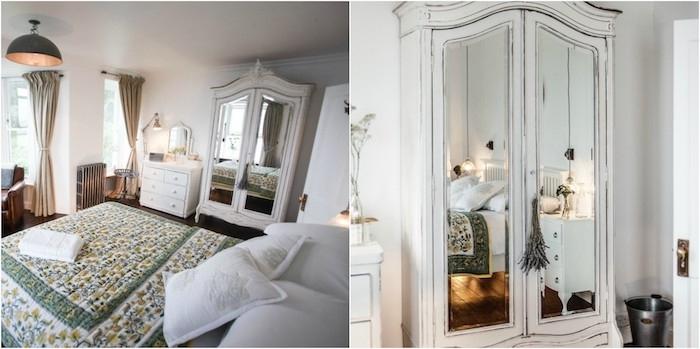 relooker armoire ancienne, relooking meuble repeint en blanc avec aspect usé, mobilier blanc, couverture de lit vert et jaune