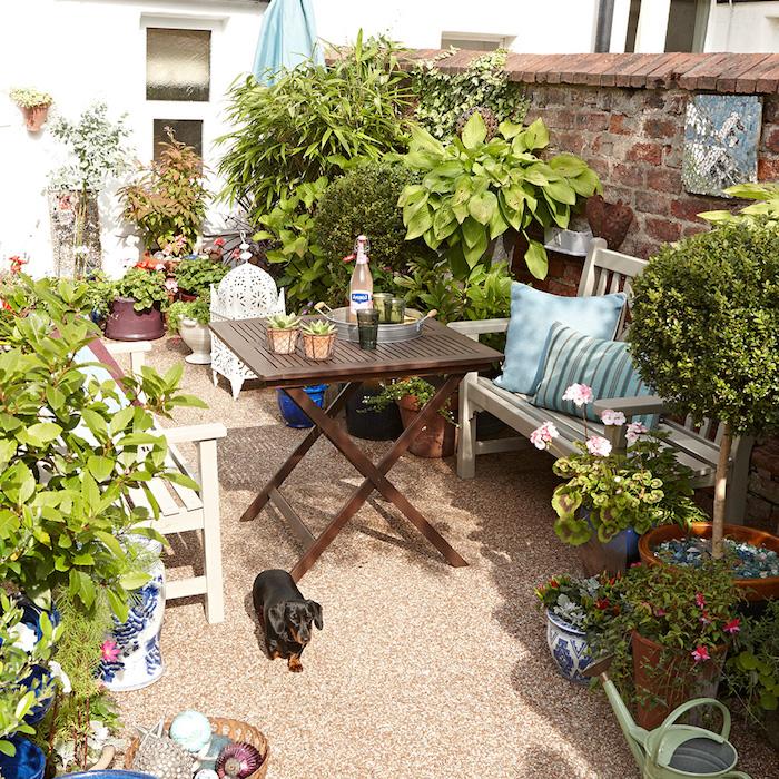 jardin mineral, salon de jardin en bois avec table marron et bancs gris vintage, plantes vertes et fleurs rouges