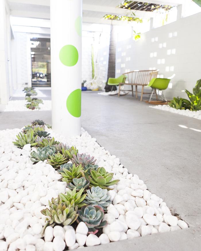 cailloux blanc, décoration d'extérieur avec plantes succulentes et galets, banc de jardin en bois avec chaises vertes
