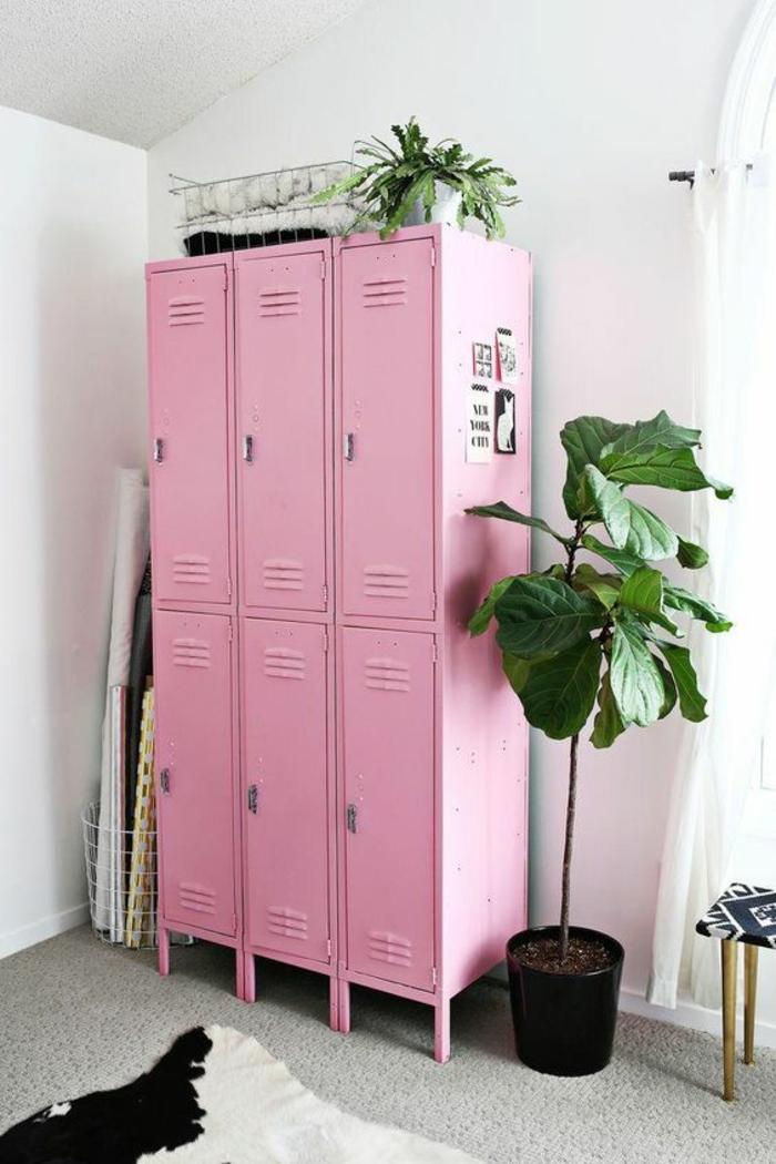armoire metallique en rose haute et profonde pour une chambre très originale combinée avec des plantes vertes