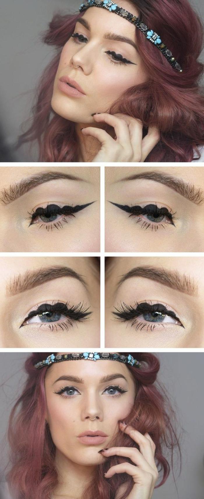 tutoriel maquillage comment se maquiller avec les yeux entourés de motifs dentelle noire look remarquable