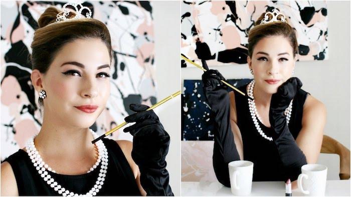 halloween desguisement en audrey hepburn, robe noire, collier de perles, diadème dans les cheveux, coiffure chignon élégant, gants longs noirs