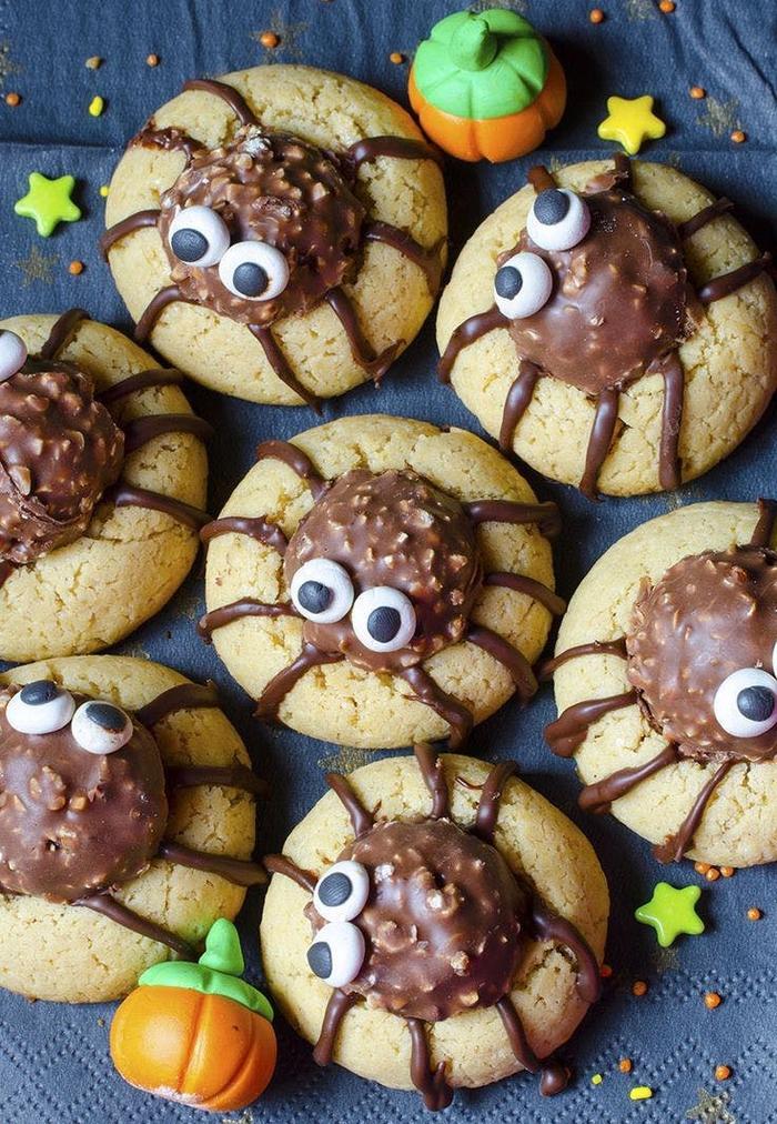 recette halloween facile de biscuits sablés au ferre rocher déguisés en araignées