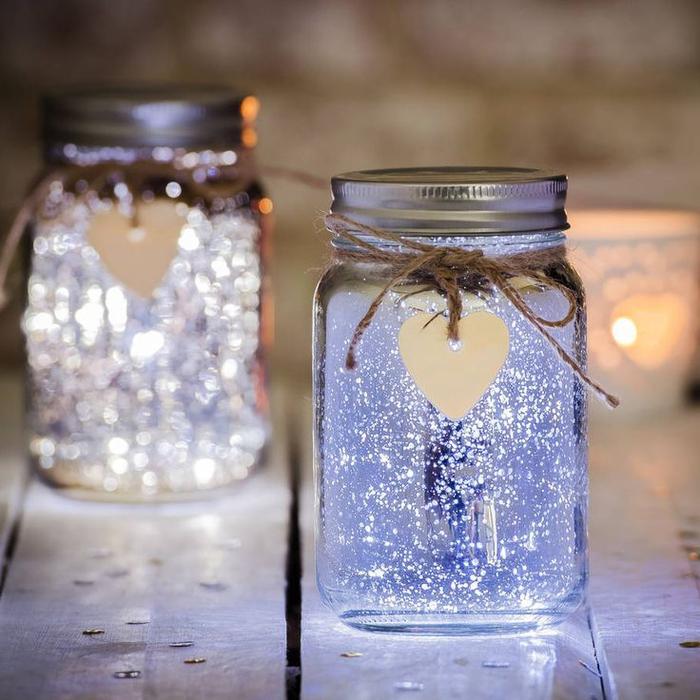 une lampe bocal led à paillettes idéal pour une déco de fêtes