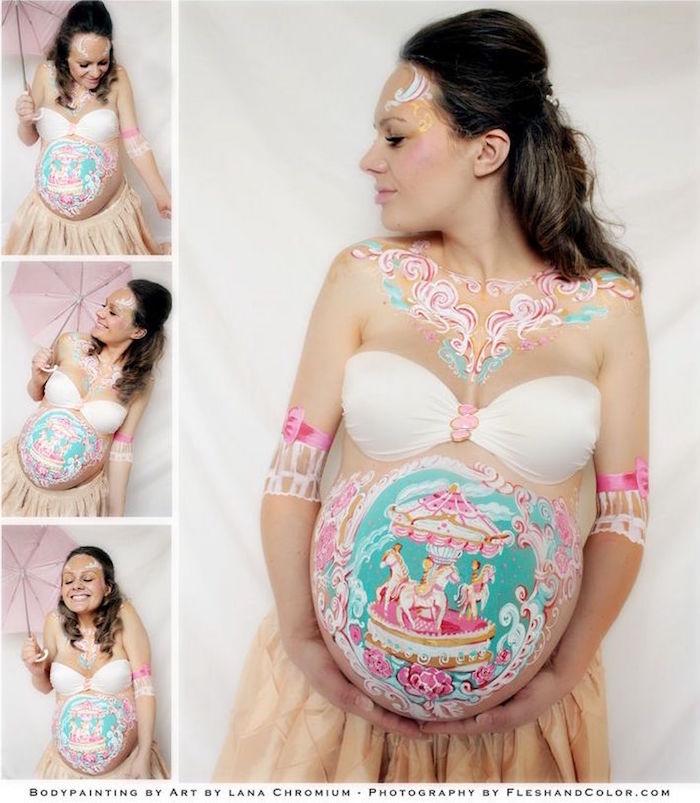 1001 Idees Body Painting Femme Enceinte Une Toile Tout En