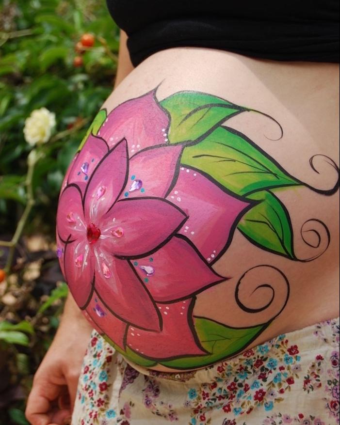modele body painting femme fleur de lotus