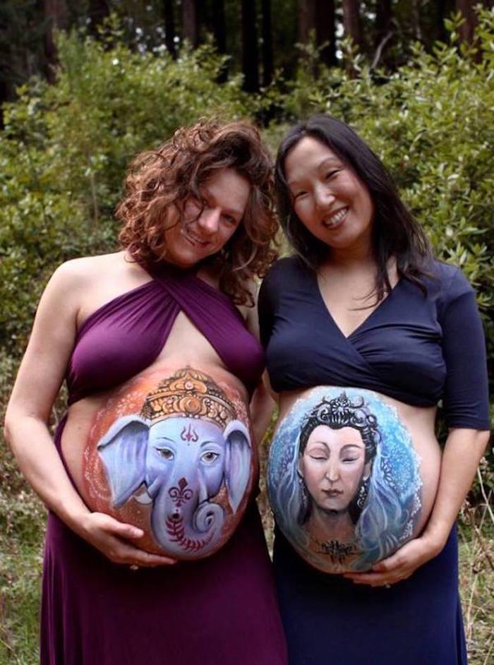 photo peinture corporelle ventre de femme enceinte