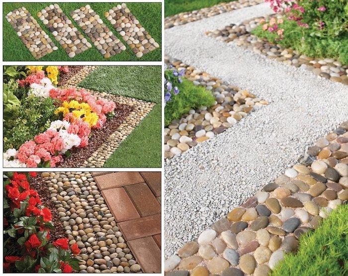 parterre de fleurs, organiser son jardin avec cailloux et galets, plantes vertes et fleurs jaunes