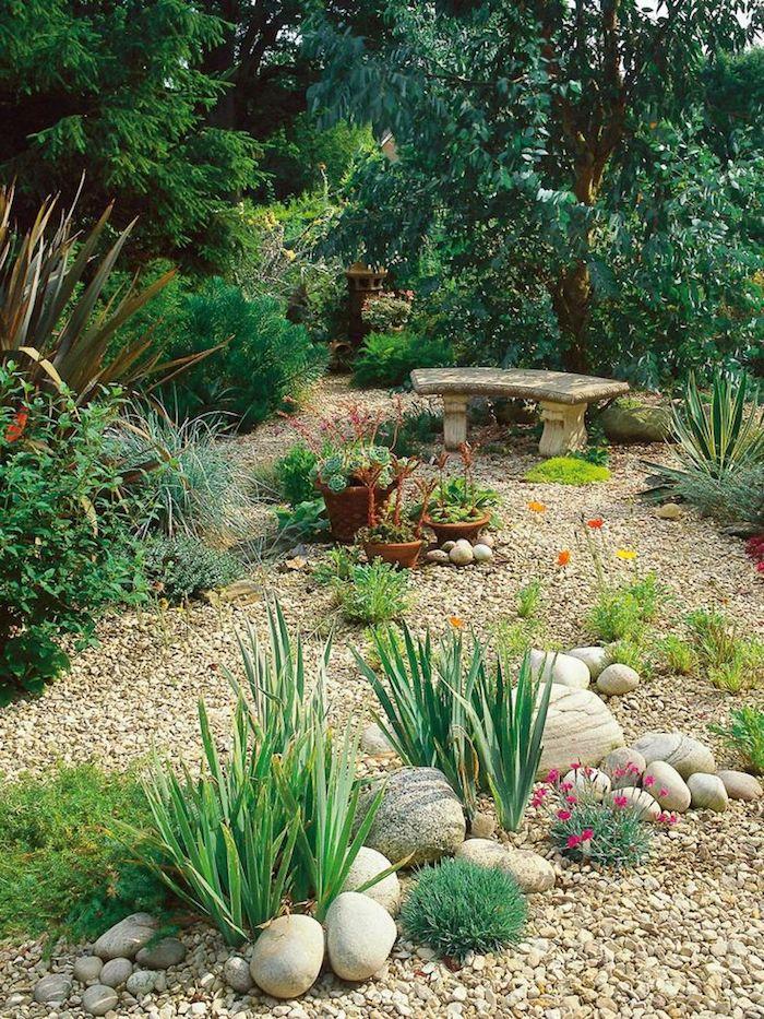 decoration exterieur, ambiance zen dans la cour vaste, parterre avec galets et cailloux pour plantes vertes