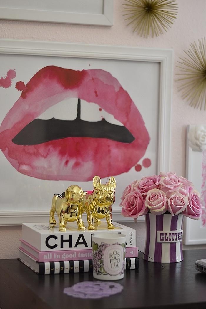 bureau avec plan de travail comment décorer son bureau, accessoires fashion pour déco féminine