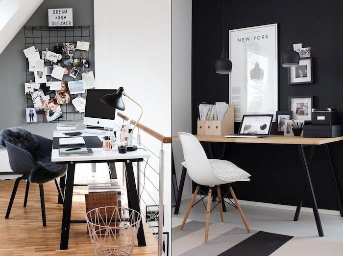 amenagement bureau, carrelage de sol en blanc avec murs peints en noir, tableau de photos et notes inspirantes