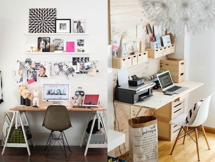 travailler de chez soi, idée comment aménager son bureau, peinture blanc et noir à motifs géométriques