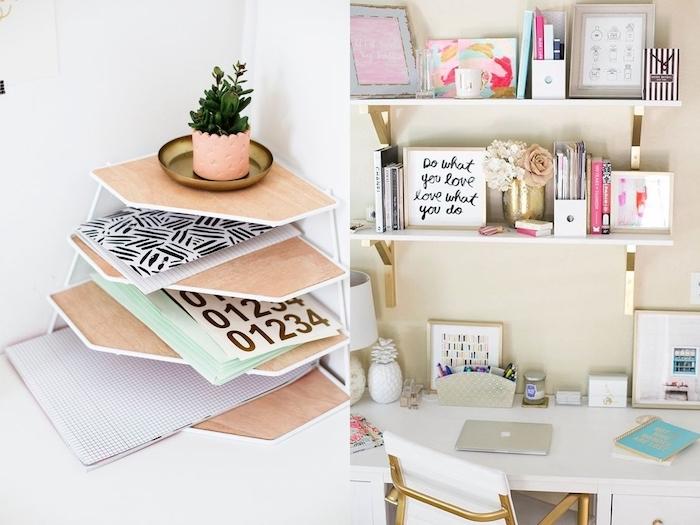 materiel de bureau, meuble de travail en blanc et or, cadre photo avec posters inspirants