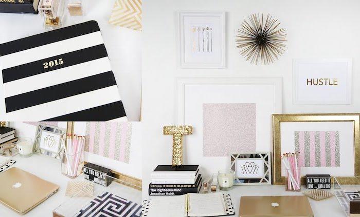amenagement bureau, décoration féminine en rose noir blanc et or, accessoires de bureau pour femme