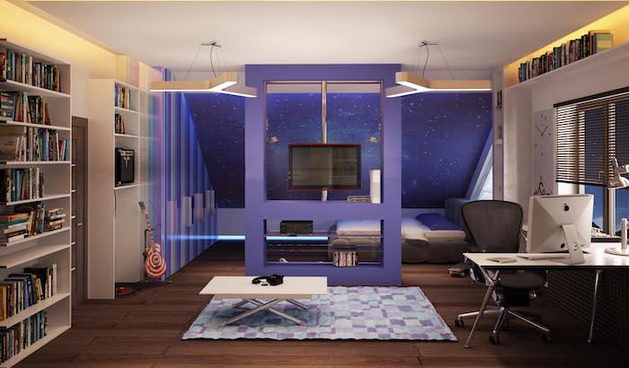 idee deco chambre garcon, guitare en rouge et blanc, petite table basse rectangulaire en bois clair