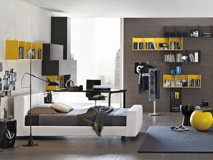 deco chambre ado garcon gris. Black Bedroom Furniture Sets. Home Design Ideas