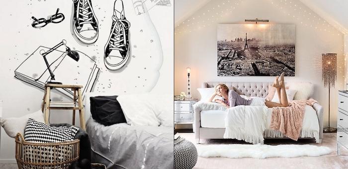 deco interieur, chambre sous pente aux murs et plafond blanc avec guirlandes lumineuses et lampe sur pied