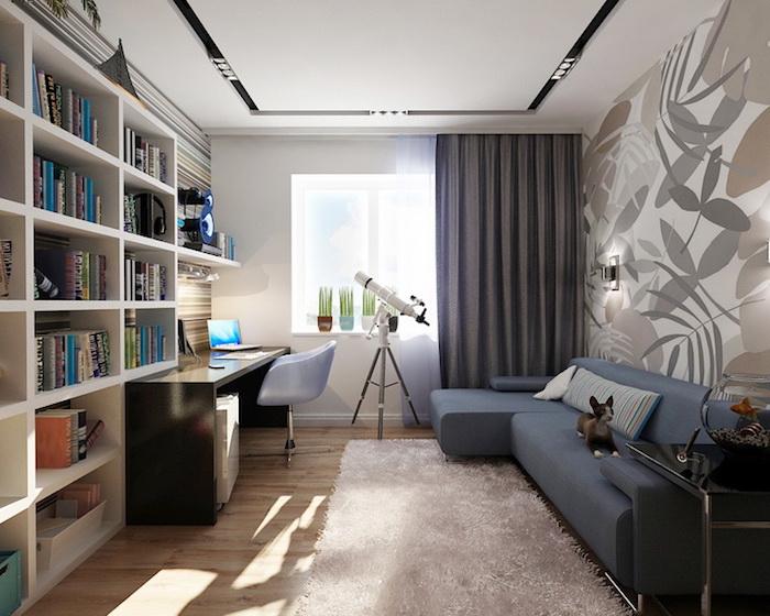 idee deco chambre garcon, papier peint à motifs feuilles en couleurs neutres, bureau noir avec chaise papillon bleu