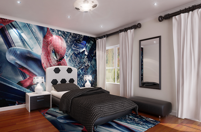 aménagement de chambre ado thématique, mur en sticker autocollant d'inspiration spiderman