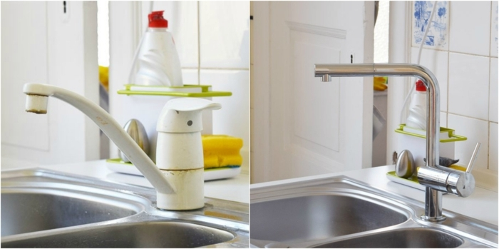 changer la robinetterie, idée de relooking cuisine facile, une robinetterie blanche usée, changée avec une pièce en inox