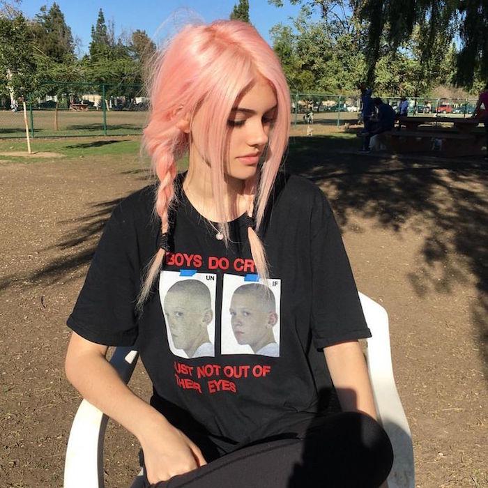 coiffure punk fille grunge cheveux rose style japonais
