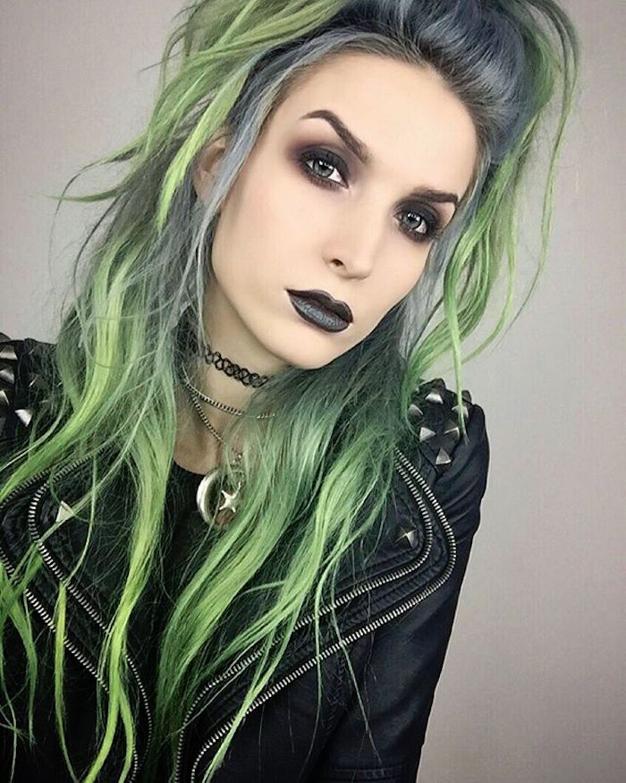 coiffure punk fille cheveux vert style grunge gothique