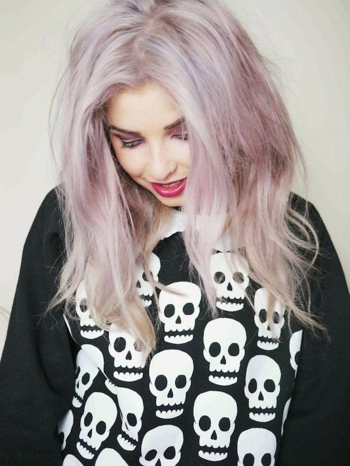 coiffure punk fille style rock grunge cheveux lavande