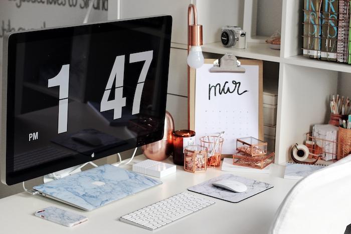 accessoires de bureau originaux, matériel de travail diy, objets de bureau peints en nuance cuivrée