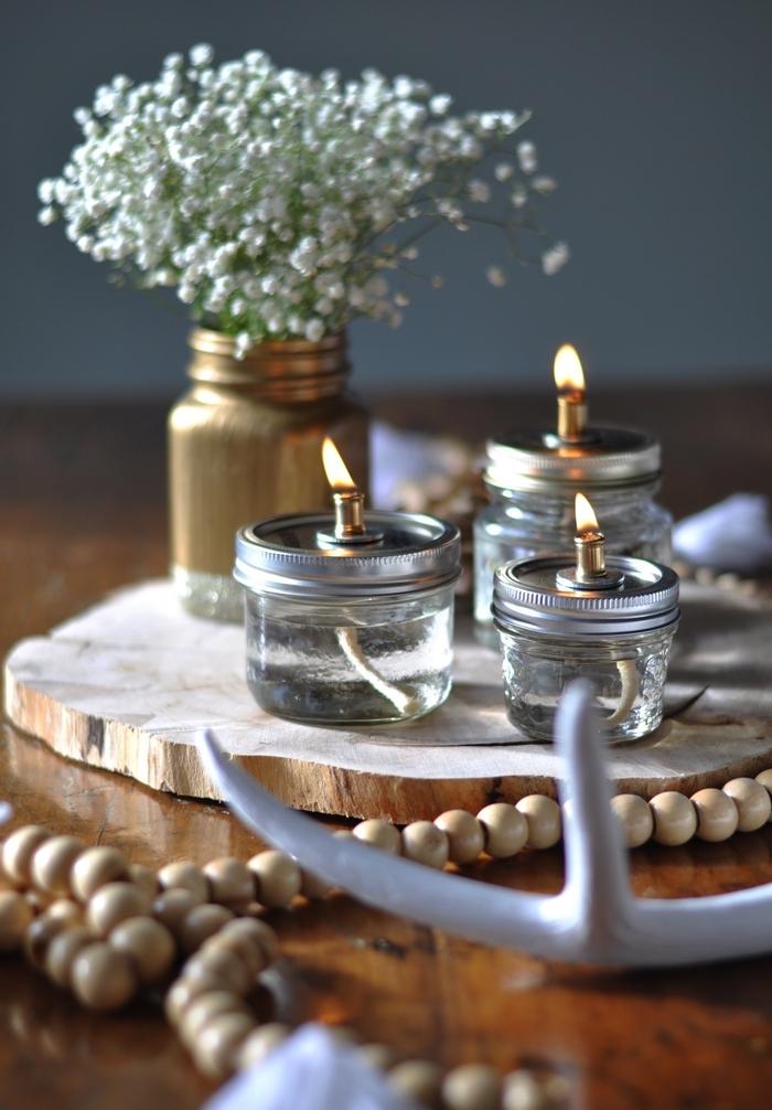 que faire avec des pots en verre, faire jolie lampe à huile vintage pour apporter une touche romantique et féerique à votre centre de table