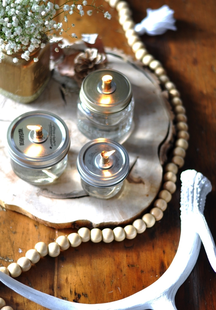 tuto facile pour réaliser une lampe à huile en bocal le parfait, déco de table avec des pots en verre vintage