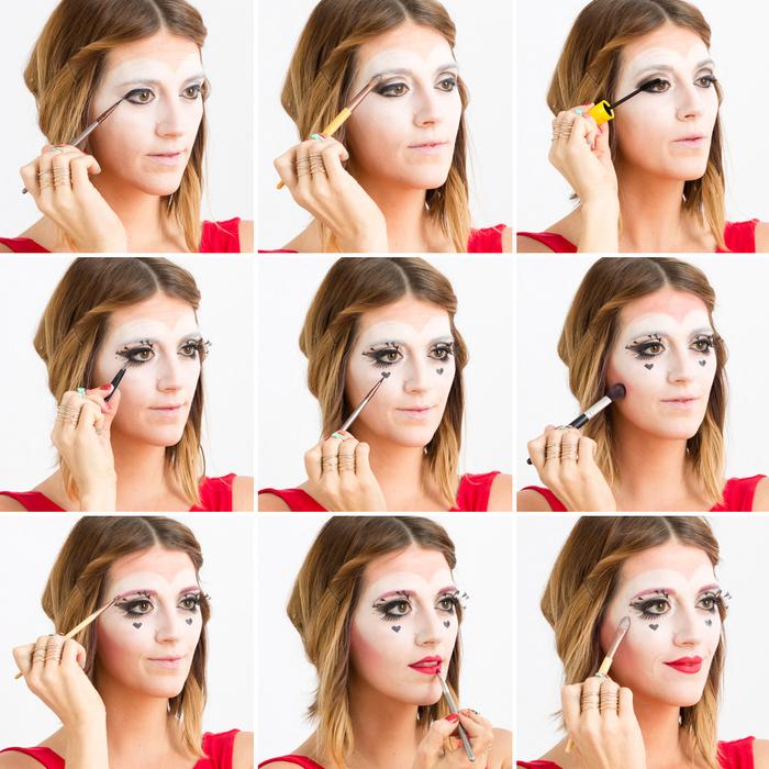 une idée maquillage halloween utilisant des produits make-up de tous les jours pour un déguisement en reine de coeur