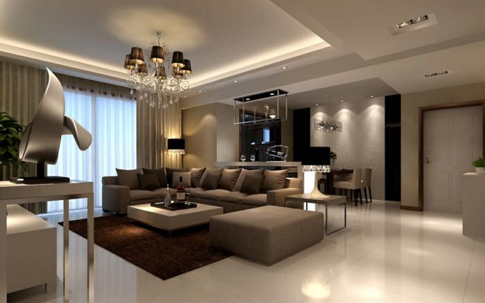 cosy deco, salon gris, tabourets couleur taupe, plafonnier baroque noir, faux plafond, tapis marron, sculpture moderne