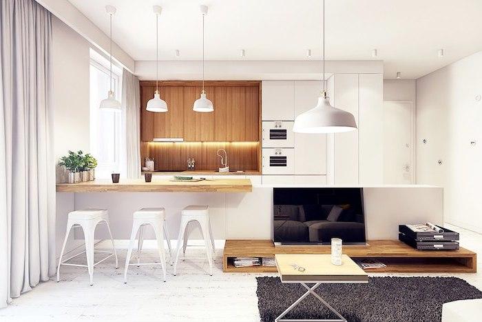 meuble haut cuisine en blanc et bois clair, crédence cuisine en bois avec éclairage led, revêtement de sol en bois peint en blanc