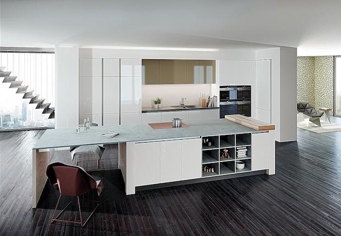 credence cuisine blanche, ilot central avec rangement bas en blanc et comptoir peint en vert clair