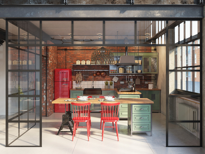 une cuisine esprit loft industriel aux accents colorés délimitée par une verrière d'atelier